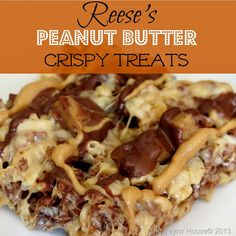 Reeses Peanut Butter Treats on MyRecipeMagic.com #peanutbutter #reeses #crispytreats