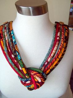 African fabric knotted cord bib necklace  Fiber by paintedthreads2,  SOLD