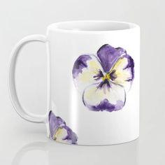 Purple flowers Coffee Mug by martadehojas Pansies, Purple Flowers, Coffee Mugs, China, Glass, Artwork, Shop, Work Of Art, Drinkware