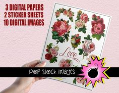 $4 Digital Download!    Cabbage roses in pink, red and white, softly-textured digital papers in hues of pink and green, and Victorian roses sticker sheets -- Valentine trimmings galore!