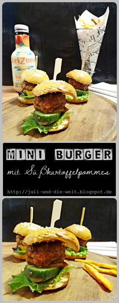 Mini Burger with Sweet potato french fries to new years eve / http://juli-und-die-welt.blogspot.de