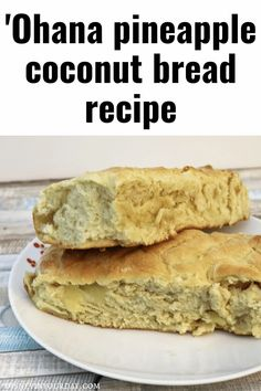 'Ohana pineapple coconut bread recipe - want a tasty Disney treat at home? Make the bread from Ohana with this recipe! Disney in your Day #disneyrecipe #disneyrecipes #ohana #pineapplecoconutbread #breadrecipes #ohanarecipe #disneyathome #disneyinyourday Pineapple Coconut Bread, Coconut Bread Recipe, Disney Food, Disney Desserts, Disney Recipes, Copycat Recipes, Bread Recipes, Food Themes, Food Ideas