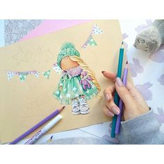 Cartoon Drawings, Cute Drawings, Painting For Kids, Art For Kids, Cartoon Kids, Cartoon People, Colored Pencil Tutorial, Magnolia Stamps, Illustrations And Posters