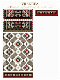 Semne Cusute: ie din MOLDOVA, Vrancea, Vidra Embroidery Flowers Pattern, Embroidery Motifs, Flower Patterns, Beading Patterns, Russian Embroidery, Just Cross Stitch, Moldova, Brick Stitch, Cross Stitching