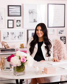 Rachel Parcell's 'Pink Peonies' Brand Inspired One Dreamy Office decor with affordable gold and acrylic desk accessories by @RGeorgeShop