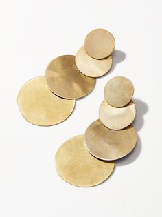 4 Moons Disc Earrings | Statement earrings featuring four brass circles descending size.    * Post backs
