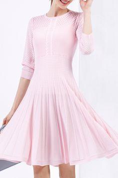Bellywear Pink Pierced Midi Sweater Dress | Sweater Dresses at DEZZAL