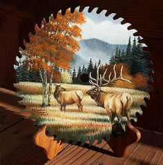 """ Elk View"" by Carol Simons Acrylic ~ 7'' round x"