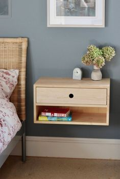 Floating Nightstand with Drawer in Solid Maple, Scandinavian Modern Bedside Table Small Furniture, Diy Furniture, Furniture Design, Furniture Outlet, Furniture Repair, Modular Furniture, Furniture Stores, Furniture Projects, Wood Projects
