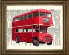 """RED LONDON BUS: Traditional English Routemaster, Vintage Dictionary Page Antique Art Print (8 x 10"""")"""