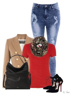 A fashion look from December 2015 featuring viscose t shirt, white cotton blazer and super high rise skinny jeans. Diva Fashion, Fashion Trends, Cotton Blazer, Carvela, Hot Outfits, Balmain, Polyvore Fashion, Female, Clothes For Women