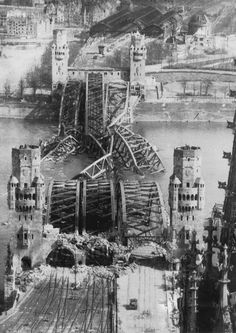 7th April 1945. The Hohenzollern Bridge over the Rhine in Cologne in ruins at the end of World War II.