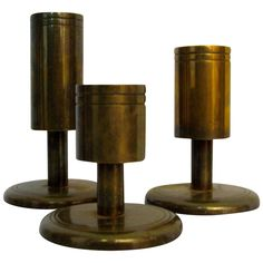 Danish Modern Dan Present Tiered Brass Candle Holders