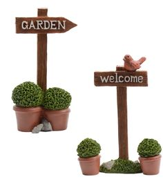 Miniature Fairy Garden Signs point the way to to a wonderful charming little world!