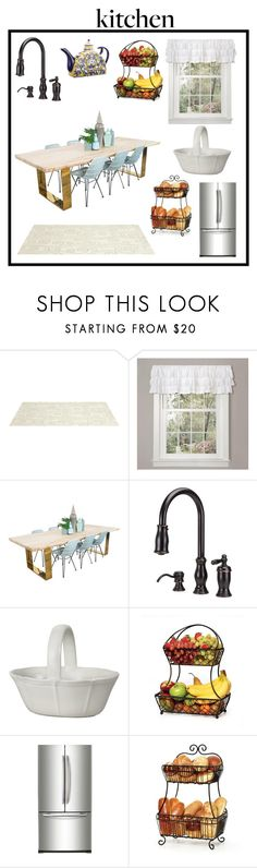 """kitchen little touches"" by carey-johnson ❤ liked on Polyvore featuring interior, interiors, interior design, home, home decor, interior decorating, Somerset Bay, Lush Décor, Samsung and Home Decorators Collection"