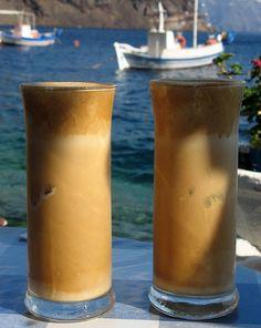 Greek frappe coffee on a nice hot day on Thirasia, near Santorini Chocolates, Coffee Drinks, Coffee Cups, Santorini House, Santorini Greece, A Perfect Day, Greek Life, Frappe, Coffee Love