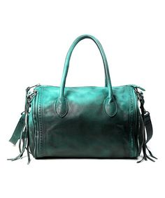 Another great find on #zulily! Aqua Green Sunny Hill Leather Satchel #zulilyfinds
