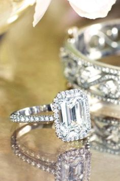 Tiffany's engagement ring ... I die! I love emerald cut!!