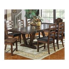 Furniture of america 7 pc carlton brown cherry finish wood dining table set. This set includes the Table, 2 arm chairs and 4 side chairs. Table measures with 1 leaf) x x H. Side chairs measure 24 x 20 D x H Simple Dining Table, Trestle Dining Tables, Dining Table In Kitchen, Extendable Dining Table, Dining Room Sets, Dining Chairs, Side Chairs, Room Chairs, Rustic Kitchen
