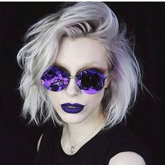 Purple Lilac and Platinum Blonde  Hair by @chrisweberhair Model #instafamous makeup artist @leighdickson  #hotonbeauty . . . . #platinumblonde #lilachair #purplehair #purplehaircolor #bob #blondebob #hairpainting #shadowroot