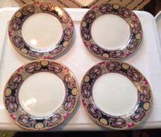 "Set Of 4 Muirfield ROYAL PAISLEY 8 1/2"" Salad Plates Mint!!"