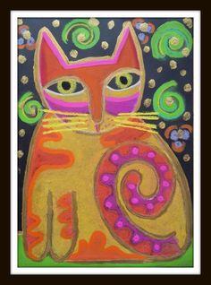First Grade Art, Art Projects, Projects To Try, Cat Silhouette, Laurel Burch, Art School, Art Lessons, Zentangle, Elementary Schools