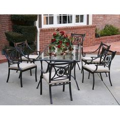 Star 7 Piece Dining Set Fabric: Beige by AIC Garden & Casual. $1071.00. I202-67S-06-A502-C Fabric: Beige Features: -Material: Cast and extruded aluminum, tempered glass, polyester fiber.-Contoured backrest and padded seat cushion warrant comfort.-Non-toxic long lasting powder coat.-Stackable arm chairs for storage convenience.-Tempered glass top with 2'' umbrella hole.-Adjustable nylon glides on chair legs. Options: -Available in Beige and Striped cushions fabrics. Constru...
