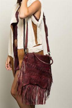 Burgundy leather Crossbody Large Bag
