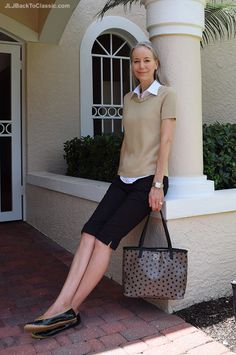 Brooks-Brothers-Sweater-And-Blouse-Ann-Taylor-Shorts-Lands-End-Bag ~JLJBackToClassic.com