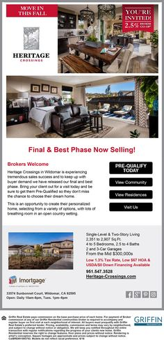 New Homes for Sale in Wildomar, California  Bring Your Clients to Heritage Crossings in Wildomar with Low Tax Rate  2.5% Broker CO-OP  |  Low Tax Rate  |  Low HOA  |  $0 Down Financing  http://www.heritage-crossings.com/