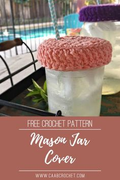 Crochet Mason Jar Cover Pattern from Cute As A Button Crochet & Craft. This free pattern is perfect for summer bbqs and outdoor events! These cute little covers will protect your drinks from dirt & bugs, while also helping people keep track of which cup is theirs. There is a perfect spot for a cute straw as well. This project is super quick to work up and great for beginners! #caabcrochet #crochetpattern #cupcover Crochet Mug Cozy, Quick Crochet, Free Crochet, Mug Rug Patterns, Crochet Patterns, Crochet Ideas, Crochet Buttons, Crochet Hooks, Wide Mouth Mason Jars