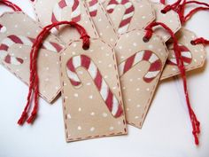 Gift tags Candy Canes  set of 8 by dasbuch on Etsy, $8.00
