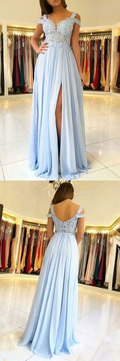 A-Line Cold Shoulder Light Blue Chiffon Prom Dress with Appliques PG610 #promdress #eveningdress #promgown #eveninggown #pgmdress #chiffon #lightblue #aline #partydress