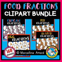 FOOD FRACTIONS CLIPART BUNDLE: CUPCAKE FRACTIONS, PIE FRACTIONS, EGG FRACTIONS AND WAFFLE FRACTIONS! ★Click to view this resource! ★