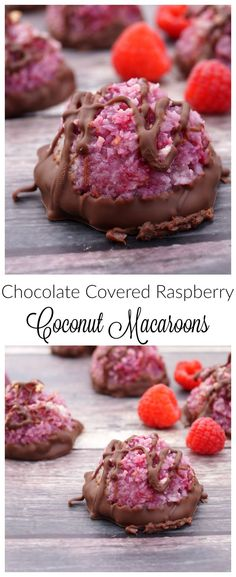 These Chocolate Covered Raspberry Macaroons are a twist on a classic family favorite, bursting with fresh raspberries and dipped in melted chocolate! They come together quickly in the food processor, (Raspberry Coconut Cake) Köstliche Desserts, Delicious Desserts, Dessert Recipes, Yummy Food, Plated Desserts, Raspberry Macaroons, Coconut Macaroons, Raspberry Chocolate, Coconut Chocolate