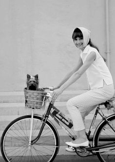 Audrey Hepburn and her second Yorkshire terrier Assam, photographed by Cecil Beaton in 1963 during the production of My Fair Lady.