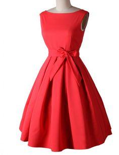 Padgene Robe Vintage 52 Années Sans Manches Casual Robe Petticoat Jupe Plissée Avec Ceinture Vintage Clarity 'Audrey' Pastel Rockabilly(noir,L) Femme(noir,S)