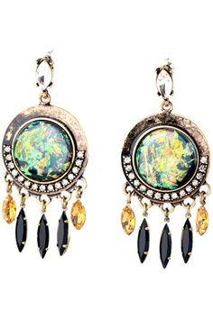 Rhinestone Circular Drop Earrings