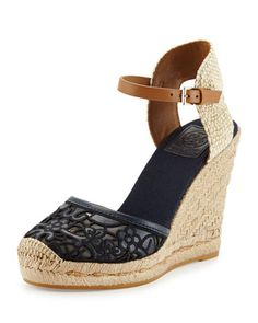 Lucia Lace Wedge Espadrille, Tory Navy by Tory Burch at Bergdorf Goodman.