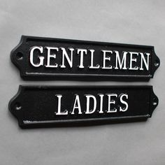 antique style traditional ladies and gentlemen toilet door signs