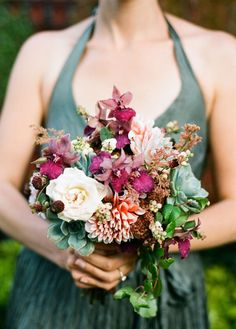 LOVE these colors! flowers and the dress