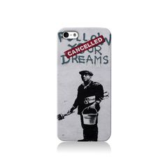 Banksy Follow Your Dreams Cover is available for iPhone 4/4S, iPhone 5/5s, iPhone 5c and new iPhone 6. The picture shows the design on an iPhone