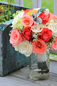 Fall wedding Bouquet. Wedding Flowers Coral, Peach, and White Roses, Dahlias, Wax Flower, Hydrangeas, and Dusty Miller