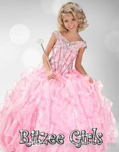 2014 Princess Pink Pageant Dresses For Girls Floor Length Little Girls Pageant Dresses Ball Gown Flower Girl Dresses Pageant Cupcake Dresses