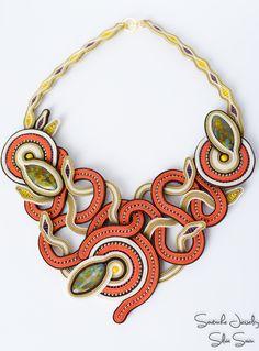 October Soutache Necklace, Autumn colors, Orange, Beige, Purple, Yellow