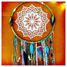 DIY dream catcher - did I already pin this?  I love it.  I think I really do need to make it... maybe to hang in my kitchen, somewhere I will see it often, because the concept is just beautiful, it brings me pure joy