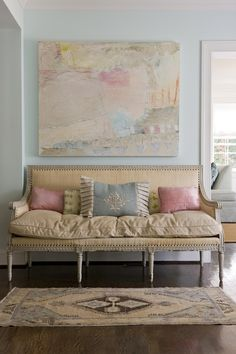 Pinned for the colour palette (excluding the blue wall colour.)  French settee