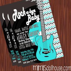 Rock and Roll Invitation Rocker Baby Shower by MimisDollhouse, $11.99
