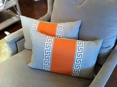 pillows with greek key tape trim - I should do this with lace instead of the Greek key tape