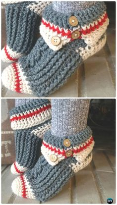 Crochet Sock Monkey Slippers Pattern - #Crochet Women #Slippers Free Patterns - Crocheting Journal